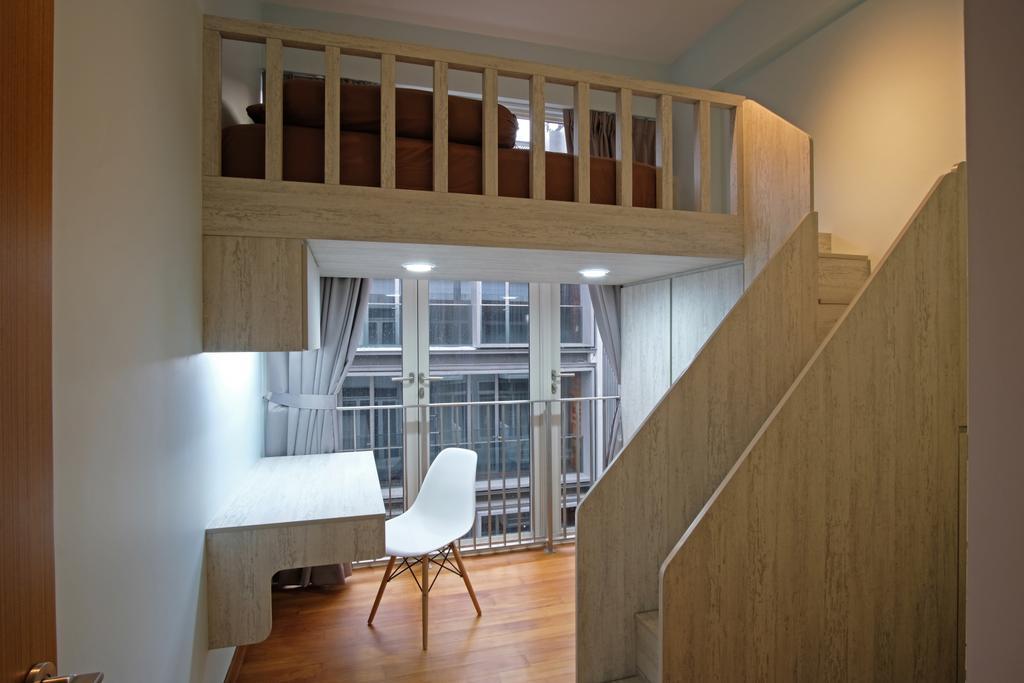 Transitional, Condo, Study, Greenwich Condo, Interior Designer, DreamVision Designer, Wooden Floor, Wall Mounted Wooden Desk, White Study Chair, Modern Contemporary Study Room