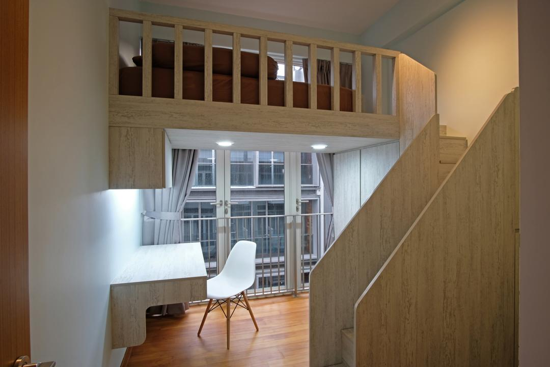 Greenwich Condo, DreamVision Designer, Transitional, Study, Condo, Wooden Floor, Wall Mounted Wooden Desk, White Study Chair, Modern Contemporary Study Room