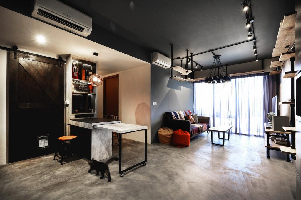 Modern, Condo, Living Room, The Citylife, Interior Designer, Lemonfridge Studio, Industrial, HDB, Building, Housing, Indoors, Loft