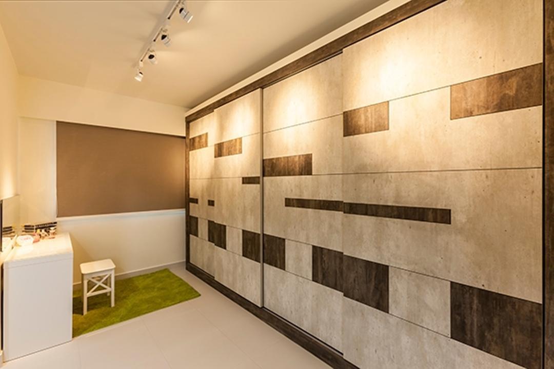 Yishun Avenue 9 (Block 315A), The Interior Lab, Minimalistic, HDB, Carpet Rug, Carpet Grass, Track Light, Track Lighting, Trackie, Monochrome Wardrobe, Storage, Indoors, Interior Design