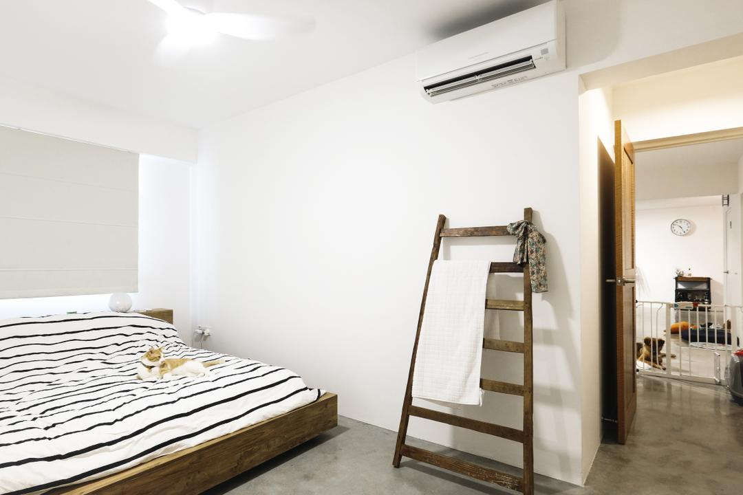 Fajar Hills (Block 433B), Lemonfridge Studio, Scandinavian, Minimalistic, Bedroom, HDB, Modern Contemporary Bedroom, King Size Bed, Cozy, Cosy, Wooden Bedding Panel, Marble Floor, Recessed Lights, Wooden Door, Bed, Furniture, Chair, Indoors, Interior Design, Room