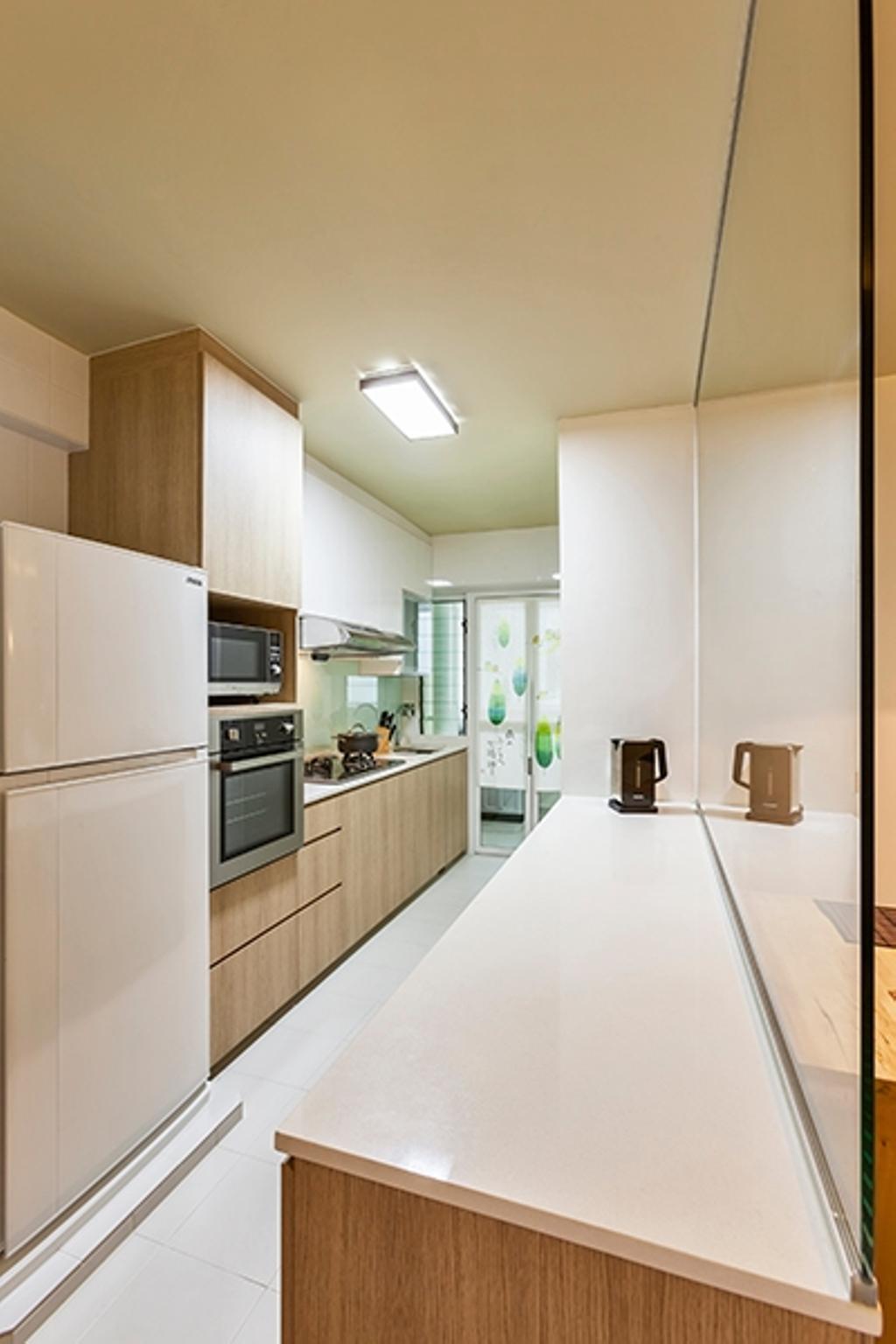 Minimalistic, HDB, Kitchen, Yishun Avenue 9 (Block 315A), Interior Designer, The Interior Lab, White Counter Top, Kitchen Counter Top, Wood Laminate, Kitchen Cabinet, Glass Backsplash, Ceiling Light, Appliance, Electrical Device, Oven