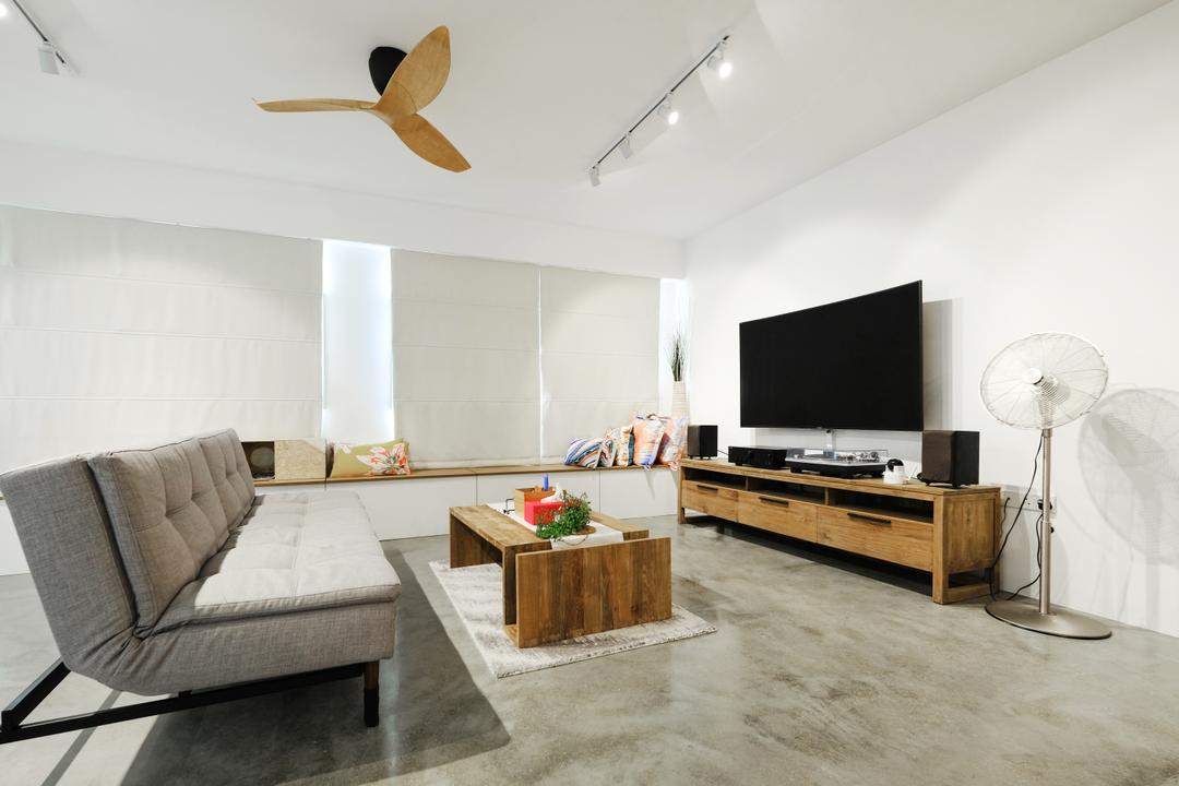 Fajar Hills (Block 433B), Lemonfridge Studio, Scandinavian, Minimalistic, Living Room, HDB, Modern Contemporary Living Room, Marble Floor, Wall Mouted Television, Wooden Television Console, Ceiling Fan, Track Lights, Wooden Table, Rug, Flooring, Electronics, Entertainment Center, Home Theater, Indoors, Interior Design, Room