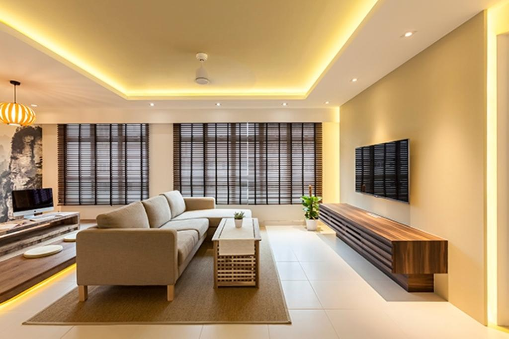 Minimalistic, HDB, Living Room, Yishun Avenue 9 (Block 315A), Interior Designer, The Interior Lab, False Ceiling, Concealed Lighting, Concealed Light, Hanging Light, Pendant Light, Wooden Tv Console, Coffee Table, Blinds, Lighting, Couch, Furniture, Indoors, Interior Design