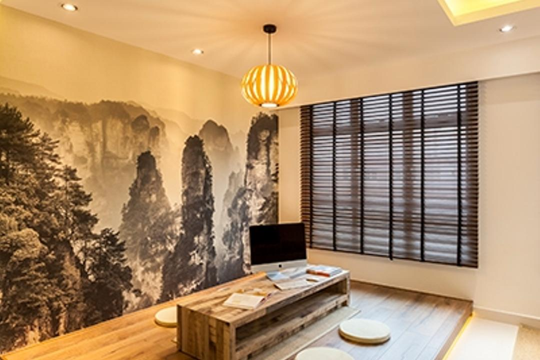 Yishun Avenue 9 (Block 315A), The Interior Lab, Minimalist, Living Room, HDB, Wooden Platform, Platform, Wallpaper, Wall Decal, Concealed Lighting, Concealed Light, False Ceiling, Recessed Lighting, Recessed Light, Blinds, Japanese Dining Table, Low Dining Table, Hanging Light, Lantern
