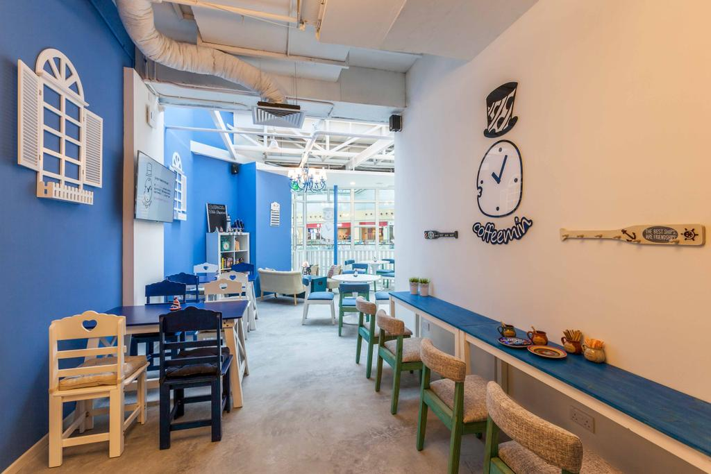 Suntec Tower, Commercial, Interior Designer, The Interior Lab, Modern, Blue Wall, Wooden Chairs, Wooden Chair, Exposed Pipes, White Window Wall Art, Window Wall Display, Chair, Furniture