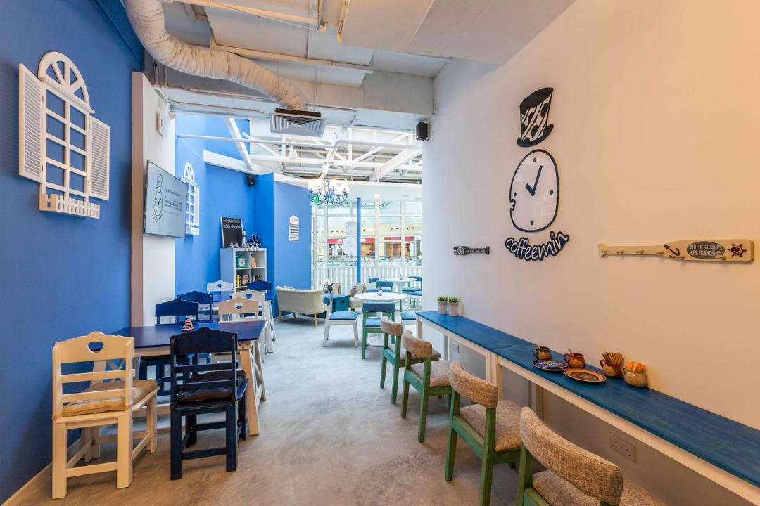 Suntec Tower, The Interior Lab, Modern, Commercial, Blue Wall, Wooden Chairs, Wooden Chair, Exposed Pipes, White Window Wall Art, Window Wall Display, Chair, Furniture