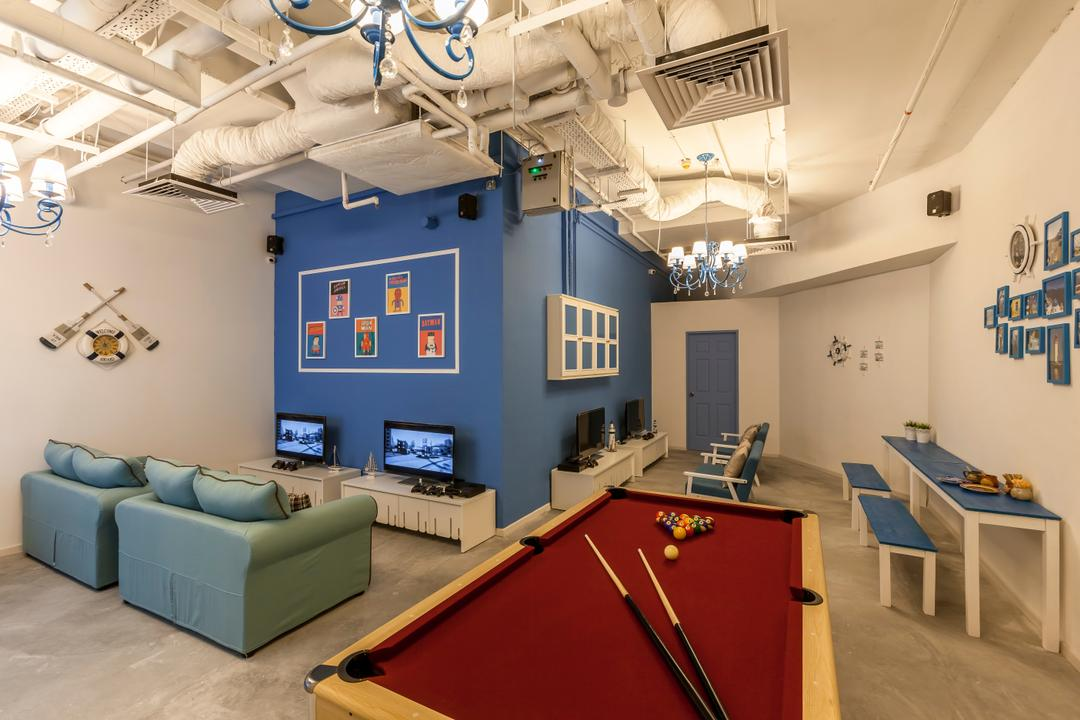 Suntec Tower, The Interior Lab, Modern, Commercial, Blue Wall, Blue Sofa, Pool Table, Billards, White Walls, White Interior, Exposed Pipes, Exposed Pipe, Tv Console, Wallart, Wall Frames, Couch, Furniture, Dining Table, Table