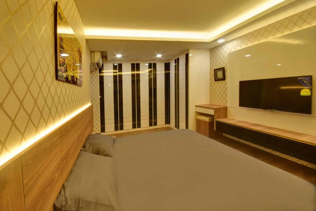 Fernvale Link (Block 415), The Interior Lab, Modern, Bedroom, HDB, Cove Light, False Ceiling, Concealed Lighting, Concealed Light, Wooden Headboard, Wallpaper, Wooden Tv Console, Laminate Feature Wall, Monochrome Cupboard, Bed, Furniture, Corridor
