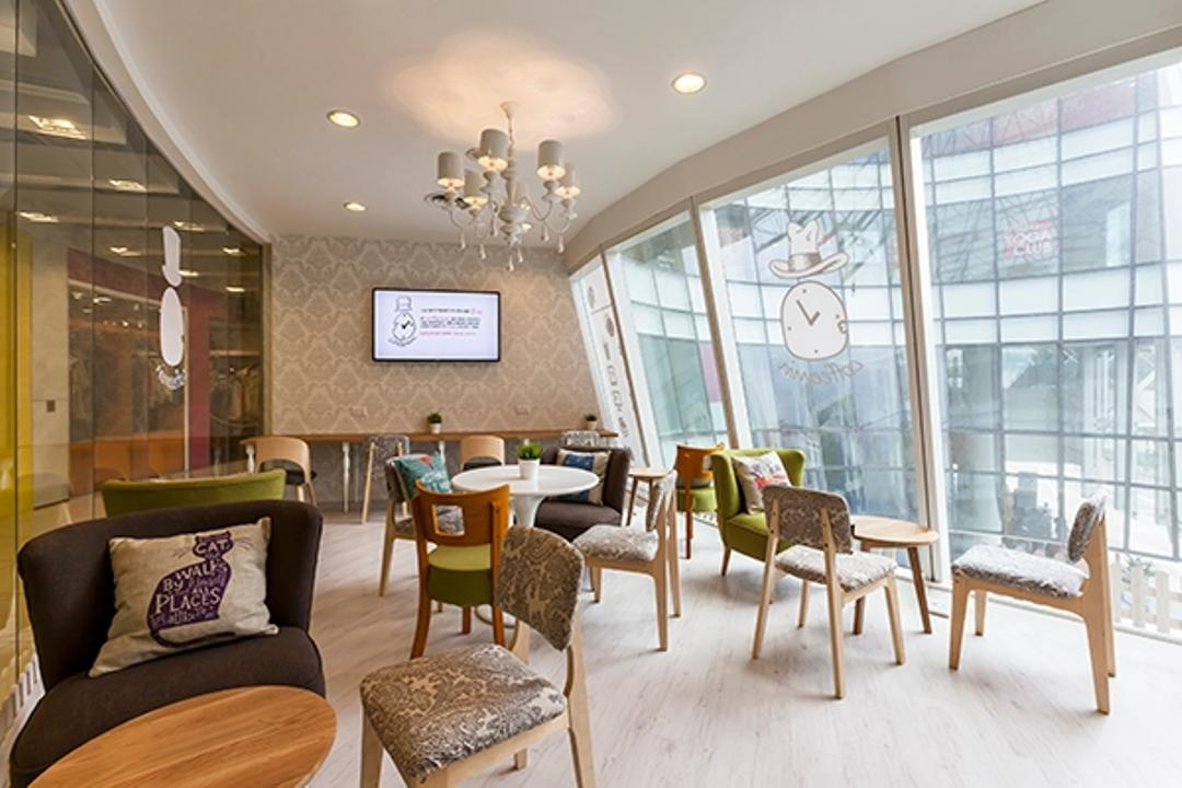 Central Cafe, The Interior Lab, Modern, Commercial, Full Length Glass Window, Printed Chair, Hanging Light, Chandelier, Recessed Lighting, Wooden Flooring, Wooden Floor, Black Armchair, Chair, Furniture, Dining Room, Indoors, Interior Design, Room, Dining Table, Table
