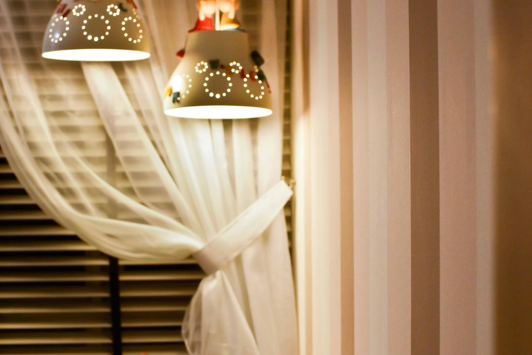 Caspian (Block 54), The Interior Lab, Modern, Bedroom, Condo, Baywindow, Bay Window, Hanging Lights, Pendant Lights, Decorative Lights, Wallpaper, Striped Wallpaper, Lamp, Lampshade