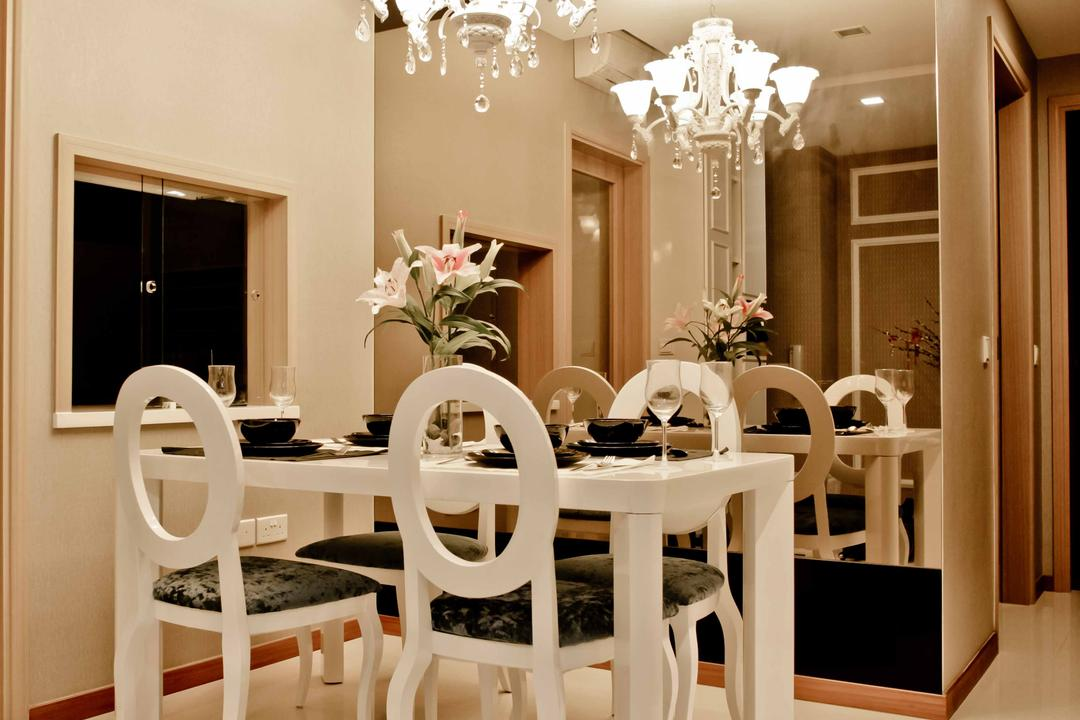 Caspian (Block 54), The Interior Lab, Modern, Dining Room, Condo, Hanging Light, Chandelier, White Dining Chair, Full Length Mirror, White Walls, Flower Vase, White Tiles, Mirror, Indoors, Interior Design, Room, Flora, Jar, Plant, Potted Plant, Pottery, Vase, Chair, Furniture, Dining Table, Table