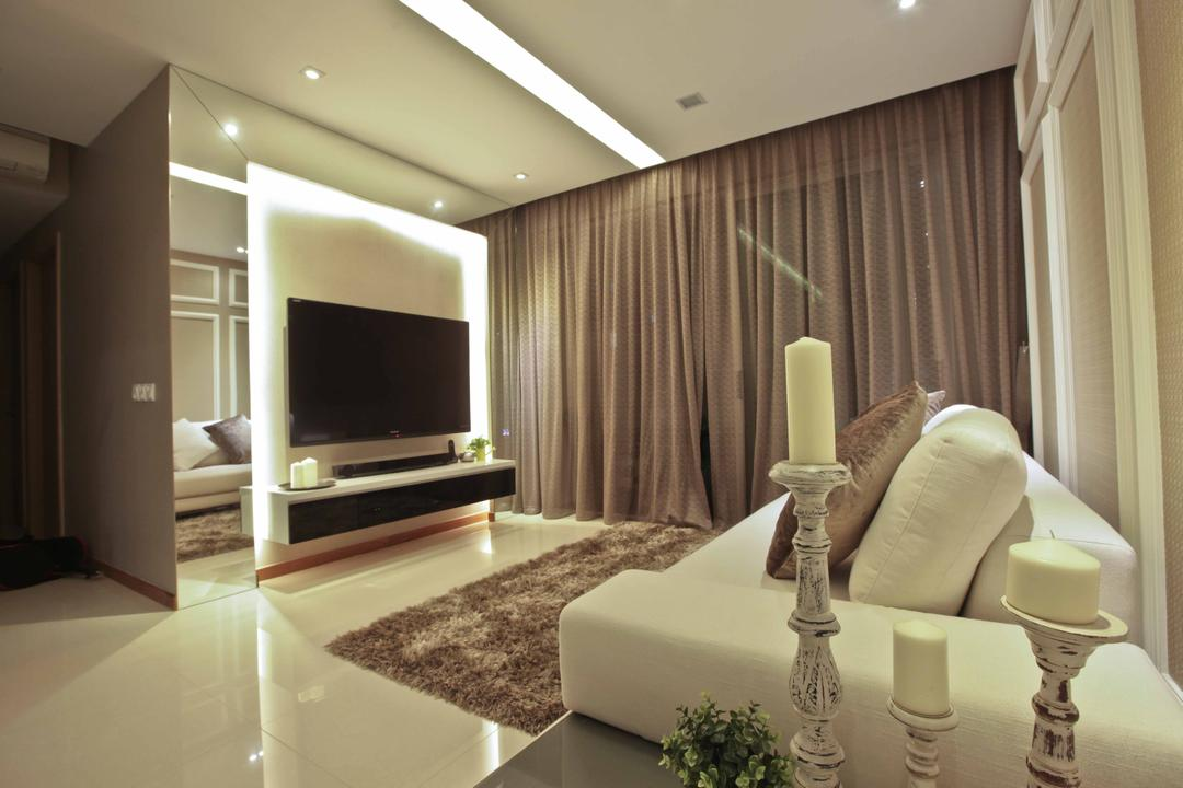 Caspian (Block 54), The Interior Lab, Modern, Living Room, Condo, Concealed Lighting, Concealed Light, White Sofa, Recessed Lighting, Recessed Light, Rug, Carpet, Candle Holder, Candlestick, Tv Console, Indoors, Interior Design, Room