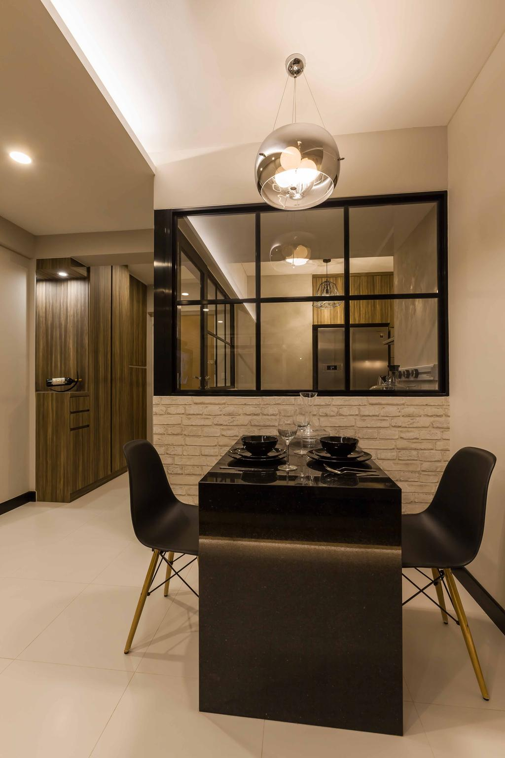 Modern, HDB, Dining Room, Boon Lay (Block 183), Interior Designer, The Interior Lab, Black Dining Table, Black Dining Chairs, Brick Wall, Hanging Light, False Ceiling, Concealed Lighting, Concealed Light, Wooden Storage, Wooden Cupboard, Appliance, Electrical Device, Oven, Chair, Furniture, Indoors, Interior Design, Room, Bowl