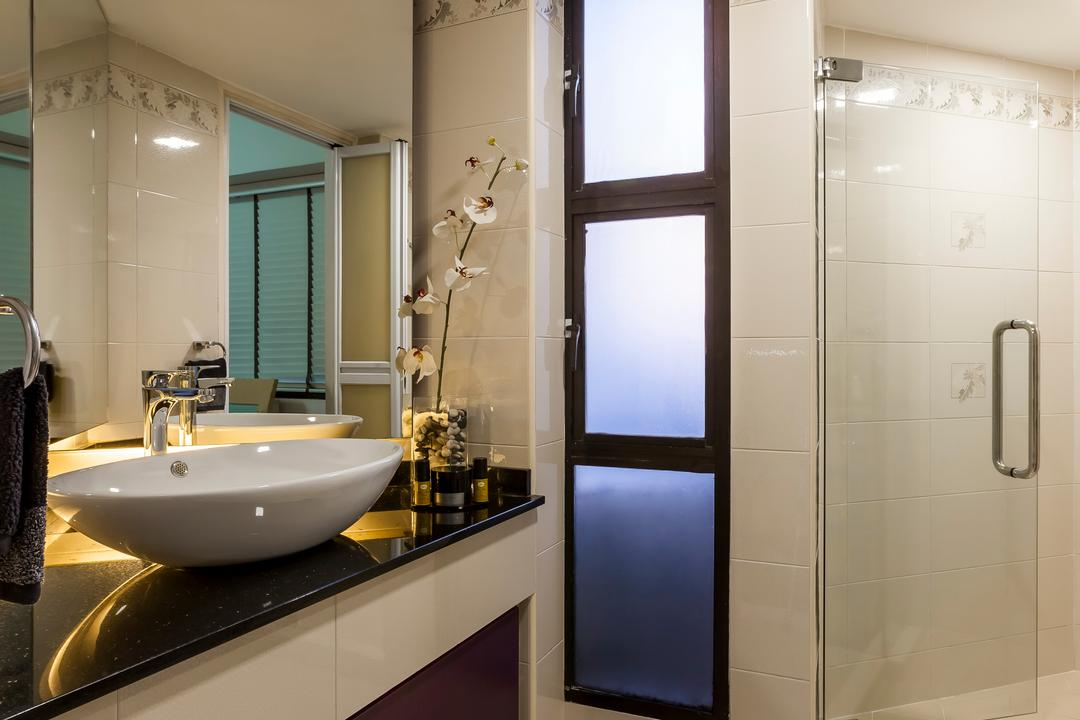 Amber Gardens, The Interior Lab, Modern, Bathroom, HDB, Glass Shower Door, Vessel Sink, Concealed Lighting, Recessed Lighting, Concealed Light, Recessed Light, Vanity Top, Bathroom Mirror, Bathroom Tiles, Flower Vase, Sink, Indoors, Interior Design, Room