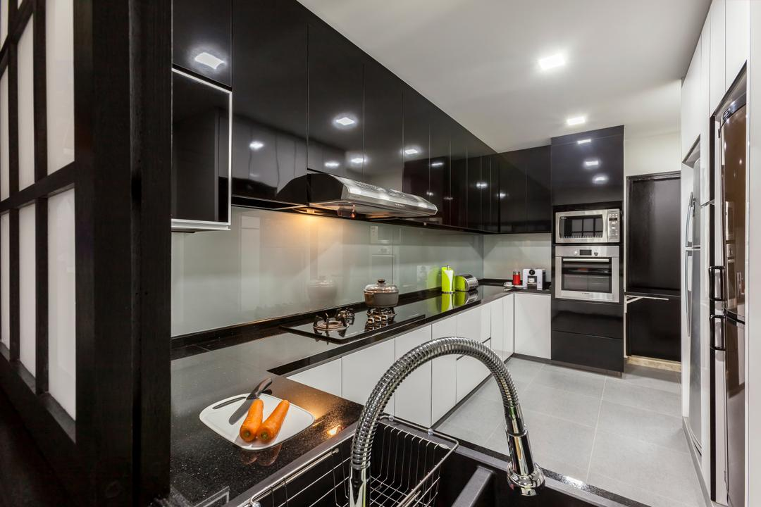 Amber Gardens, The Interior Lab, Modern, Kitchen, HDB, Kitchen Counter Top, Black Counter Top, Recessed Lighting, Wall Mounted Cabinet, Black Kitchen Cabinet, Kitchen Storage