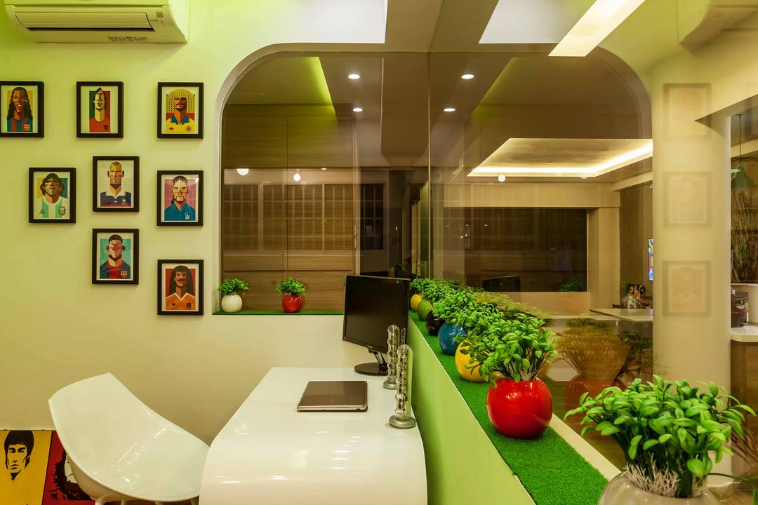 10 Anson International Plaza, The Interior Lab, Modern, Study, Condo, Wallart, Wall Frames, White Study Desk, Carpet Desk, Potted Plant, Mirror, Green Ceiling, Wooden Flooring, Apple Green Wall, Portraits, White Curved Table, White Chair, Flora, Jar, Plant, Pottery, Vase, Food, Produce
