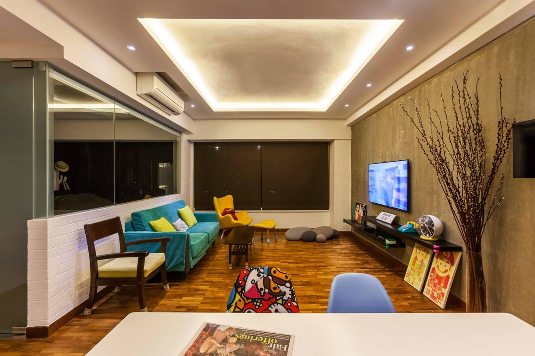 10 Anson International Plaza, The Interior Lab, Modern, Living Room, Condo, False Ceiling, Cove Light, Concealed Lighting, Concealed Light, Blue Sofa, Wooden Flooring, Yellow Armchair, Printed Chair, Recessed Lighting, Colourful Sofa, Conference Room, Indoors, Meeting Room, Room