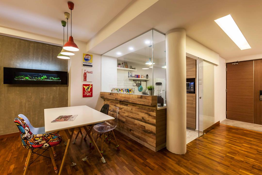 10 Anson International Plaza, The Interior Lab, Modern, Dining Room, Condo, Wooden Floor, False Ceiling, Hanging Lights, Glass Window, Wooden Laminate, Wallart, Wall Art, Printed Chair, Architecture, Building, Skylight, Window, Chair, Furniture, Flooring, Floor
