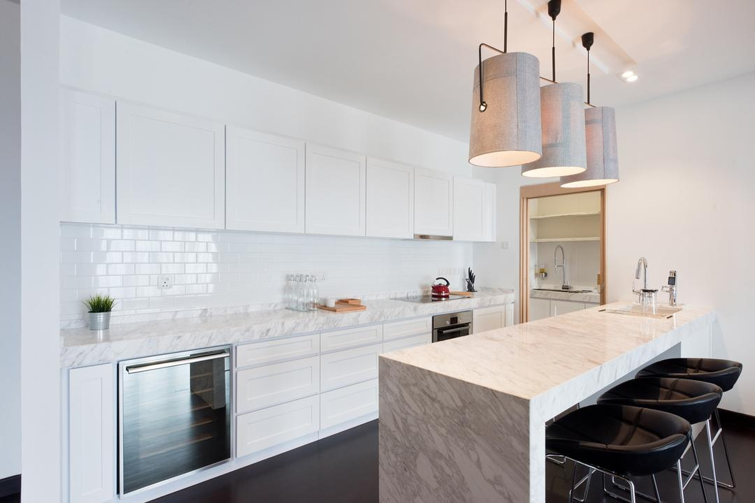 Casa Tropicana, Pocket Square, Minimalistic, Kitchen, Condo, White Cabinets, Pendant Lighting, Pendant Lights, Kitchen Island, Black Chair, Black Stool, Stool Chair, Chair, White Wall, White Ceiling, Bar Stool, Wine Cellar, Wine Cabinet, Dining Room, Indoors, Interior Design, Room, Furniture, Plywood, Wood