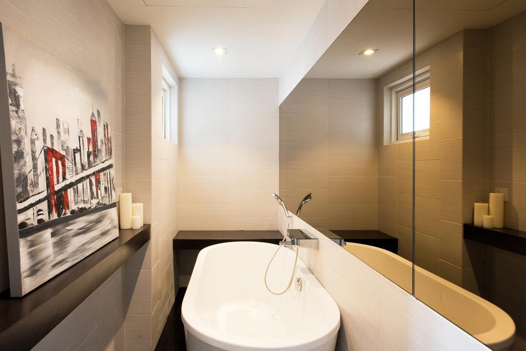 Minimalist, Condo, Bathroom, Casa Tropicana, Interior Designer, Pocket Square, Mirror, Tiles, Display Shelf, Bathtub, Wall Art, Sink