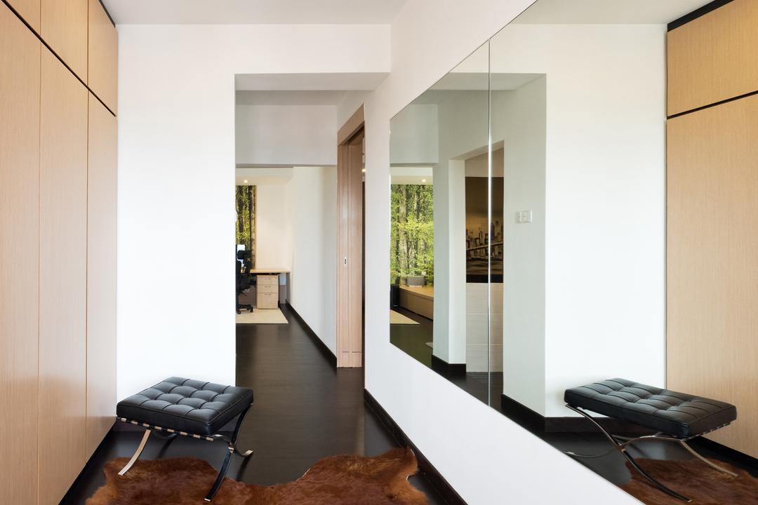 Casa Tropicana, Pocket Square, Minimalistic, Bedroom, Condo, Dressing Room, Walk In Wardrobe, Wardrobe, Mirror, Bench, Cowhide, Rug, Neutrals, Chair, Furniture