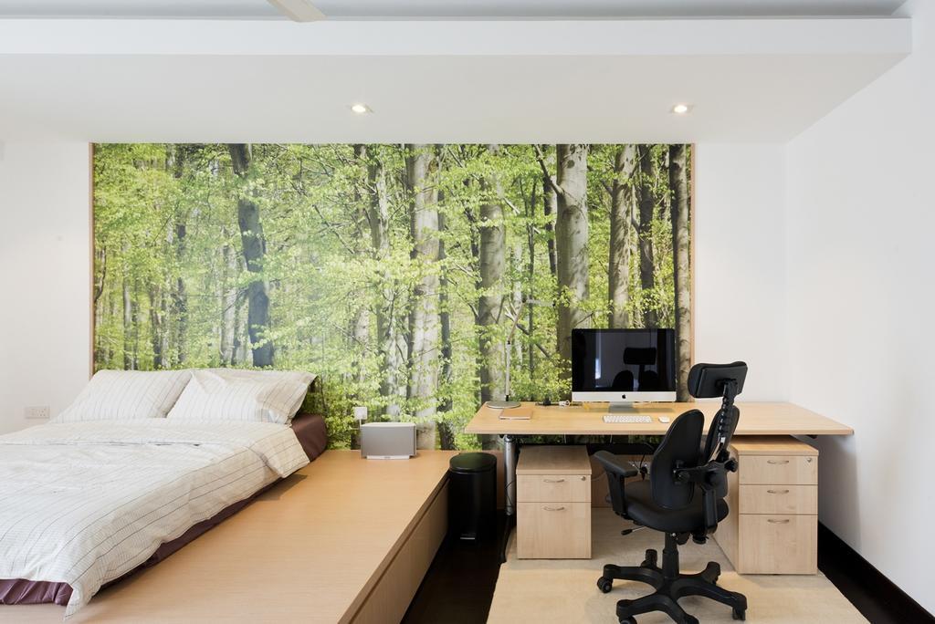 Minimalistic, Condo, Bedroom, Casa Tropicana, Interior Designer, Pocket Square, Wall Mural, Wall Art, Platform Bed, Bed Storage, Study Table, Storage Platform, False Ceiling, Spotlight, Recessed Lightings