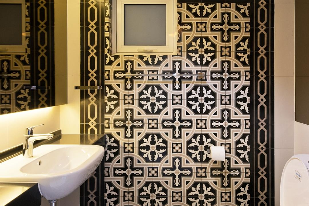 Casa Tropicana, Pocket Square, Minimalistic, Bathroom, Condo, Oriental Tiles, Pendant Lamp, Black And White, Monochromatic, Recessed Sink, Mirror, Cove Lighting, Morrocan Tiles, Patterned Tiles, Black Tiles, European Tiles, Sink, Indoors, Interior Design, Room