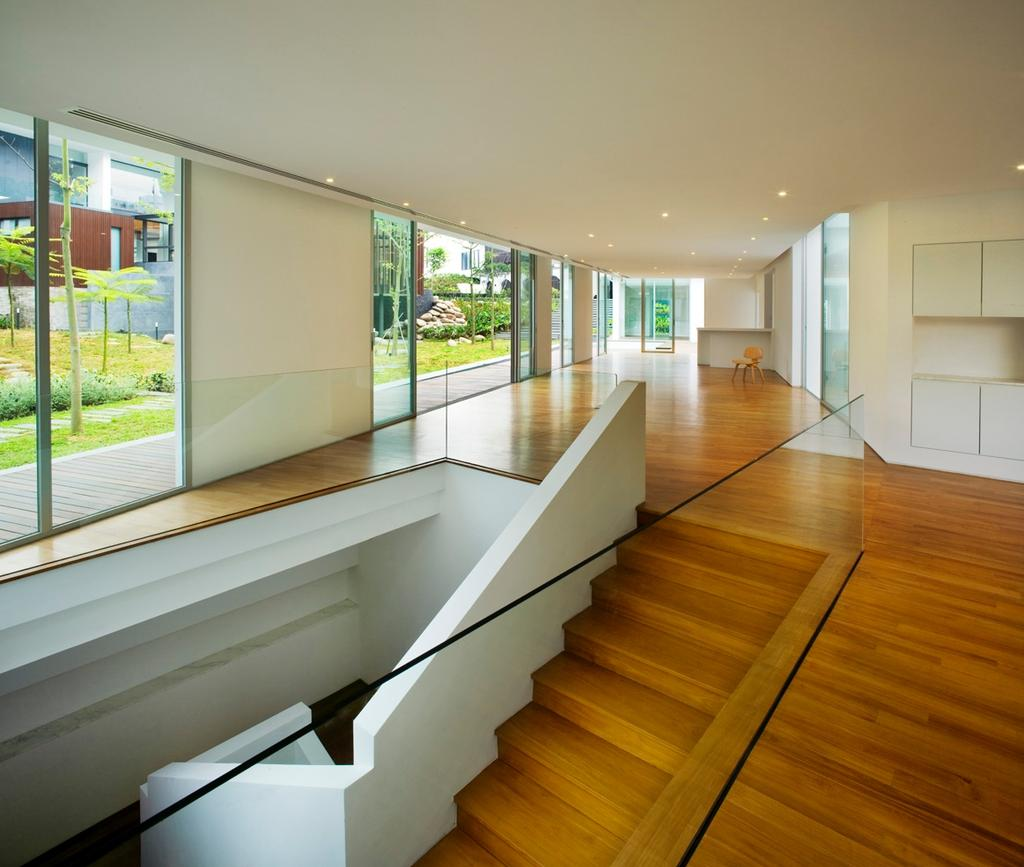 Modern, Landed, Zig Zag House, Architect, Ministry of Design, Brown Flooring, Wooden Flooring, White Railing, Glass Walls, White Ceiling, Stairway, Wooden Stairway, Flooring, Hardwood, Wood
