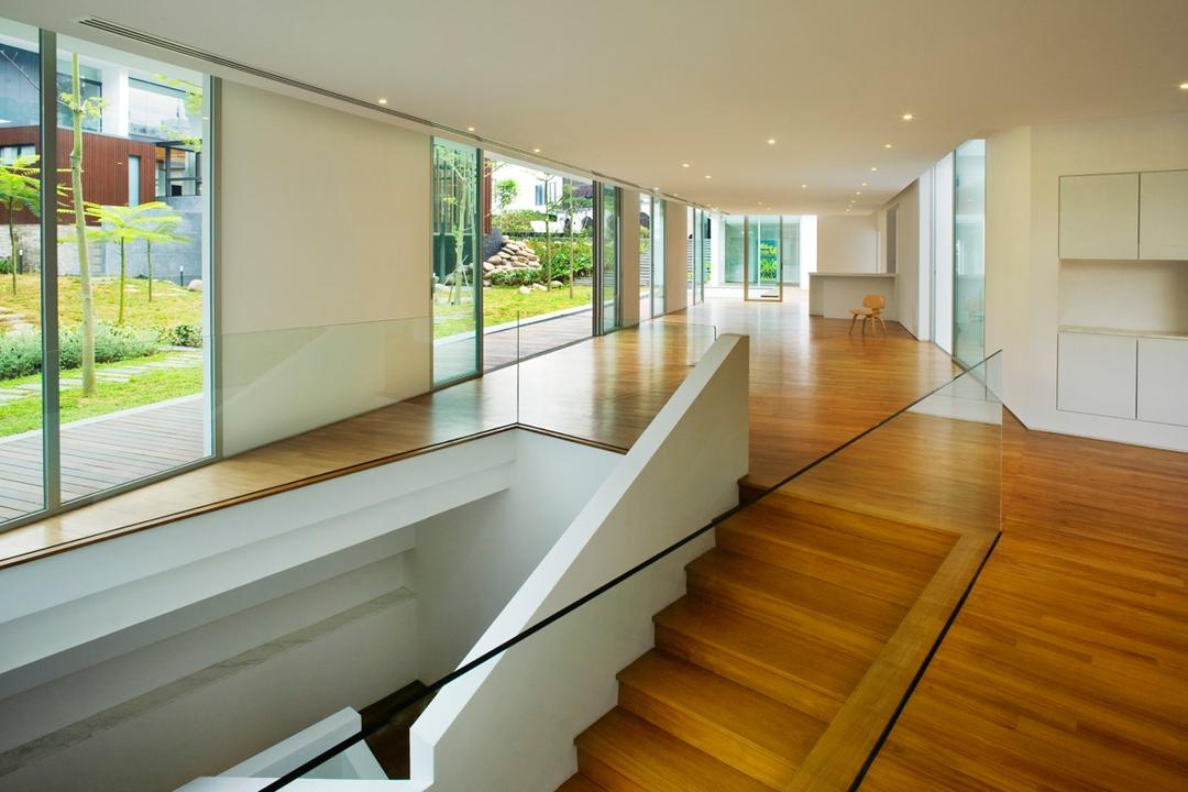 Zig Zag House, Ministry of Design, Modern, Landed, Brown Flooring, Wooden Flooring, White Railing, Glass Walls, White Ceiling, Stairway, Wooden Stairway, Flooring, Hardwood, Wood