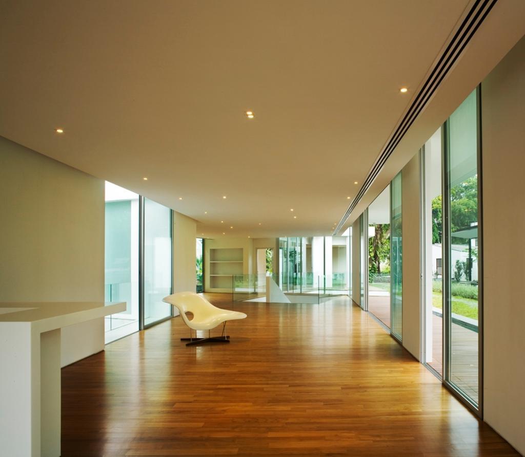 Modern, Landed, Zig Zag House, Architect, Ministry of Design, White Ceiling, Recessed Lights, Wooden Flooring, Chair, White Walls, Glass Walls, Door, Sliding Door, Flooring, Floor