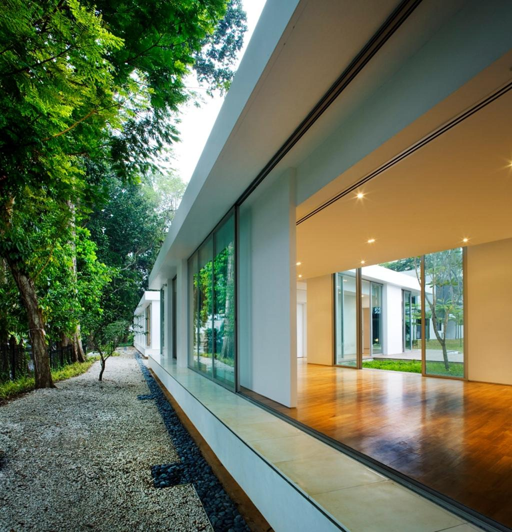 Modern, Landed, Zig Zag House, Architect, Ministry of Design, Wooden Flooring, Brown Flooring, Recessed Lights, White Walls, Corridor