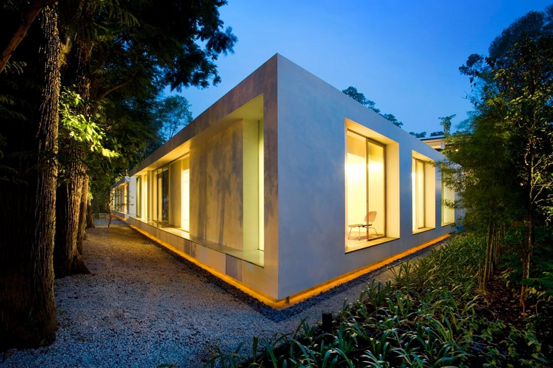 Zig Zag House, Ministry of Design, Modern, Landed, Exterior View, Plantation, Plants, Trees, White Walls, Exterior Lighting, Building, Cottage, House, Housing, Countryside, Hut, Nature, Outdoors, Rural, Shack, Shelter, Flora, Forest, Land, Plant, Rainforest, Tree, Vegetation, Jungle