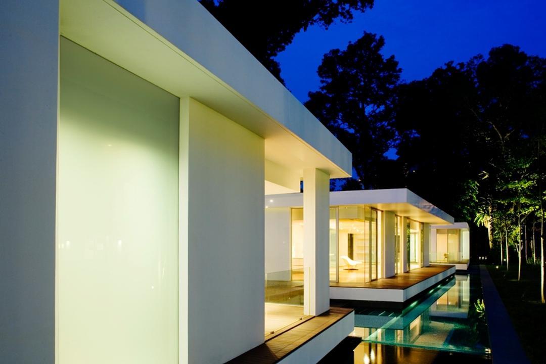 Zig Zag House, Ministry of Design, Modern, Landed, Wooden Platform, Pebbles, Water Platform, White Walls, Building, House, Housing, Villa, Night, Outdoors