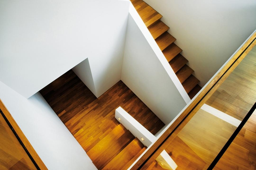 Zig Zag House, Ministry of Design, Modern, Landed, Wooden Flooring, Glass Barricade, White Walls