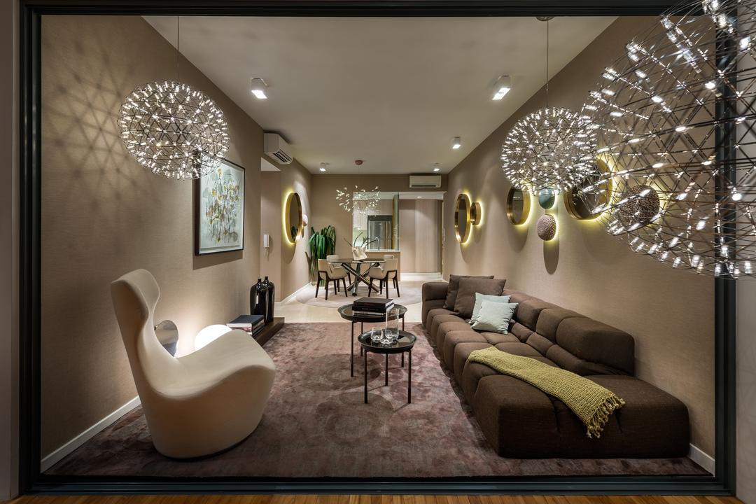 UOL Frame, Ministry of Design, Modern, Commercial, Wooden Flooring, Brown Flooring, Laminated Flooring, Pendant Lighting, Pendant Lights, Round Hanging Lights, Brown Sofa, Beige Chair, Carpeted Flooring, Coffee Table, Couch, Furniture, Indoors, Interior Design, Dining Table, Table