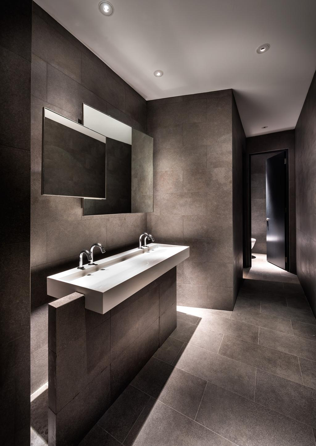 UOL Fractal Gallery, Commercial, Architect, Ministry of Design, Contemporary, Bathroom, Recessed Lighting, Recessed Lights, Grey Walls, Gray Walls, Grey Flooring, Gray Flooring, Wall Mounted Mirror, Mirror, White Basin, Corridor, Sink, Indoors, Interior Design, Room