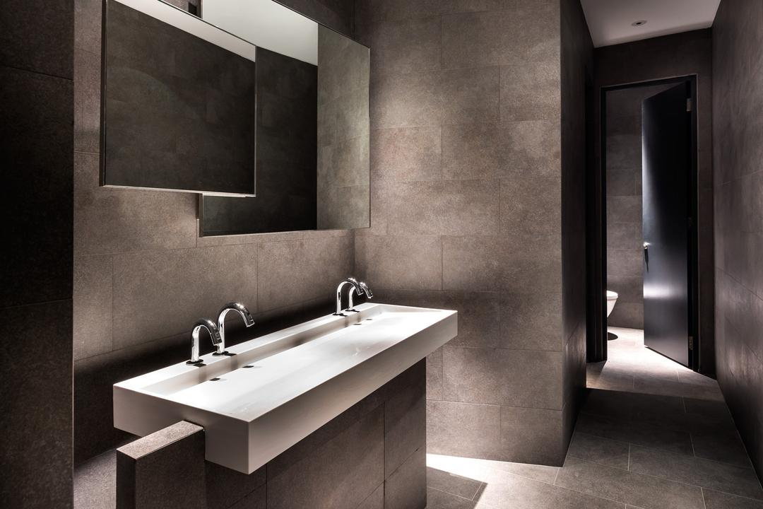 UOL Fractal Gallery, Ministry of Design, Contemporary, Bathroom, Commercial, Recessed Lighting, Recessed Lights, Grey Walls, Gray Walls, Grey Flooring, Gray Flooring, Wall Mounted Mirror, Mirror, White Basin, Corridor, Sink, Indoors, Interior Design, Room