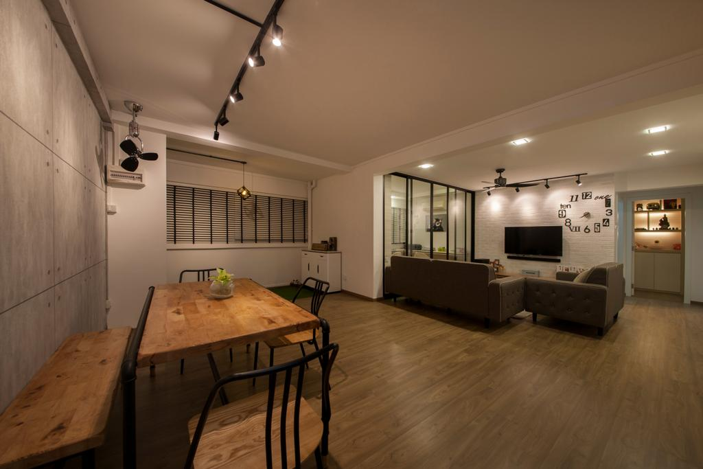 Industrial, HDB, Dining Room, Yishun Ring Road, Interior Designer, Corazon Interior, Scandinavian, Plywood, Wood, Dining Table, Furniture, Table, Electronics, Entertainment Center, Home Theater