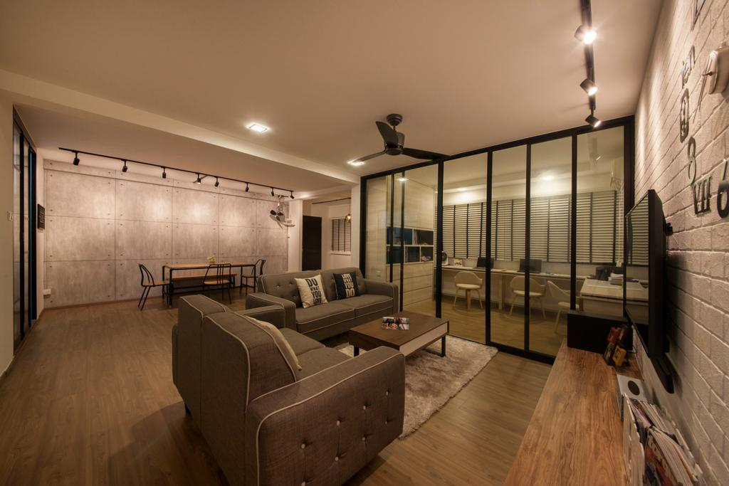 Industrial, HDB, Living Room, Yishun Ring Road, Interior Designer, Corazon Interior, Scandinavian, Hardwood, Wood
