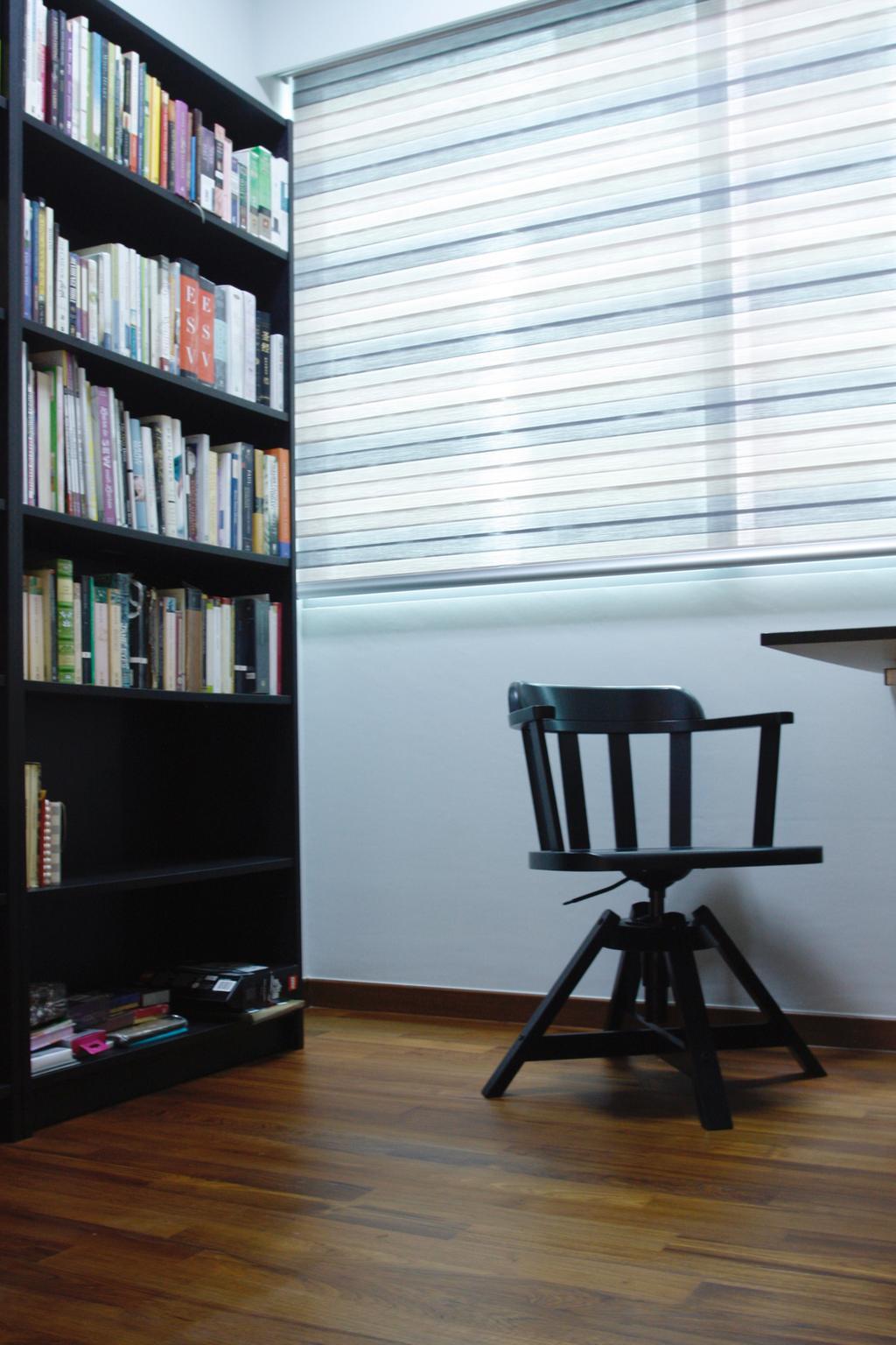 Minimalistic, Condo, Study, 22 Hillview Terrace, Interior Designer, Corazon Interior, Bookcase, Furniture, Chair