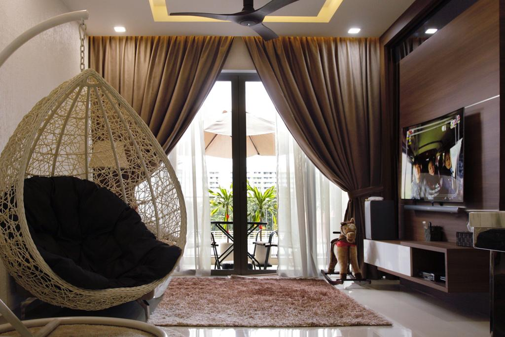 Contemporary, HDB, Living Room, 20 Bedok, Interior Designer, Corazon Interior, Brown Rug, Hanging Mammock, Sling Curtain, Recessed Lights, Ceiling Fan, Wall Mounted Television, Floating Television Console, Marble Floor, Indoors, Room