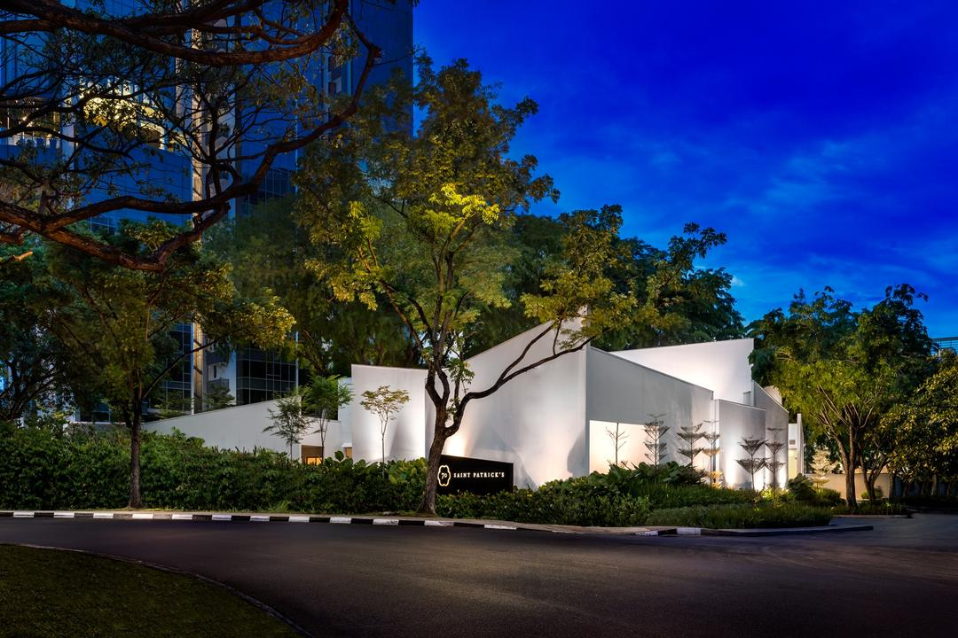 UOL Fractal Gallery, Ministry of Design, Contemporary, Commercial, Exterior View, White Walls, Plants, Trees, Flora, Plant, Tree, Building, Cottage, House, Housing