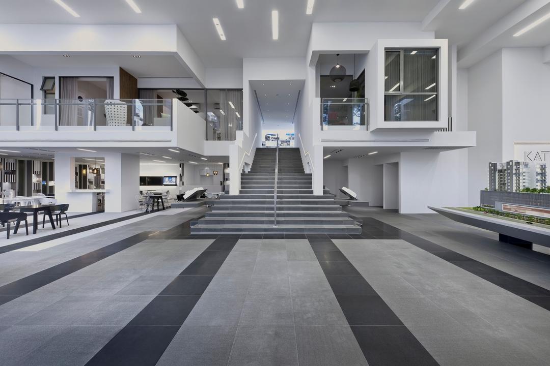 UOL Edge, Ministry of Design, Modern, Commercial, Grey Floor, Gray Floor, Step, White Ceiling, High Ceiling, Glass Barricade, White Walls