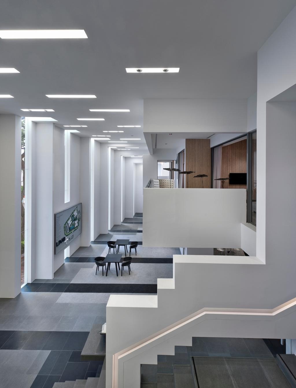 UOL Edge, Commercial, Architect, Ministry of Design, Modern, Grey Floor, Gray Floor, Steps, White Ceiling, White Walls, Glass Walls, White Pillars, Dining Table, Furniture, Table