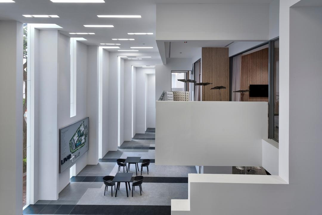 UOL Edge, Ministry of Design, Modern, Commercial, Grey Floor, Gray Floor, Steps, White Ceiling, White Walls, Glass Walls, White Pillars, Dining Table, Furniture, Table