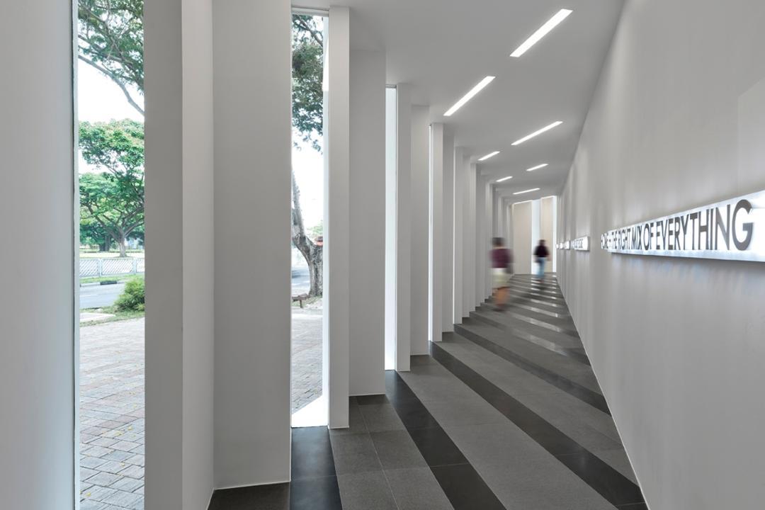 UOL Edge, Ministry of Design, Modern, Commercial, White Pillars, Pillars, Grey Floor, Gray Floor, White Ceiling, Ceiling Lighting, Corridor