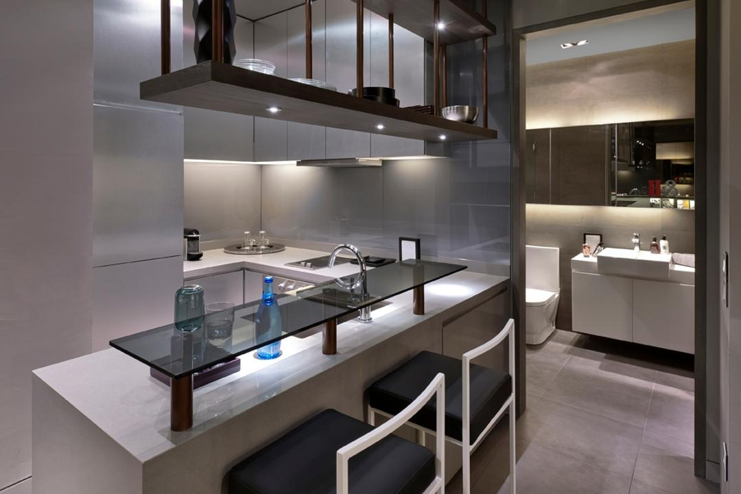 UOL Edge, Ministry of Design, Modern, Commercial, High Chair, Kitchen Counter, Hanging Shelf, Shelf Lighting, Bathroom, Indoors, Interior Design, Room, Dining Table, Furniture, Table, Light Fixture