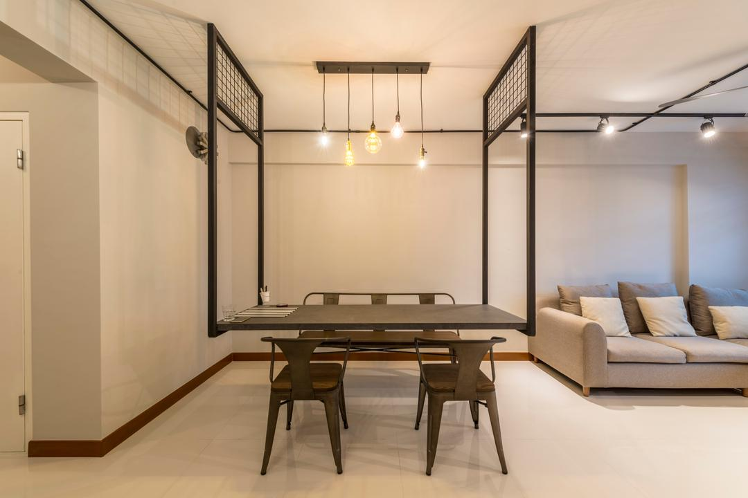 Sumang Walk, Superhome Design, Industrial, Dining Room, HDB, Modern Contemporary Dining Room, , Wooden Dining Table, Wooden Dining Chair, Wooden Dining Bench, White Wall, Ceramic Floor, Dining Table, Furniture, Table, Building, Housing, Indoors, Loft, Banister, Handrail, Chair, Interior Design