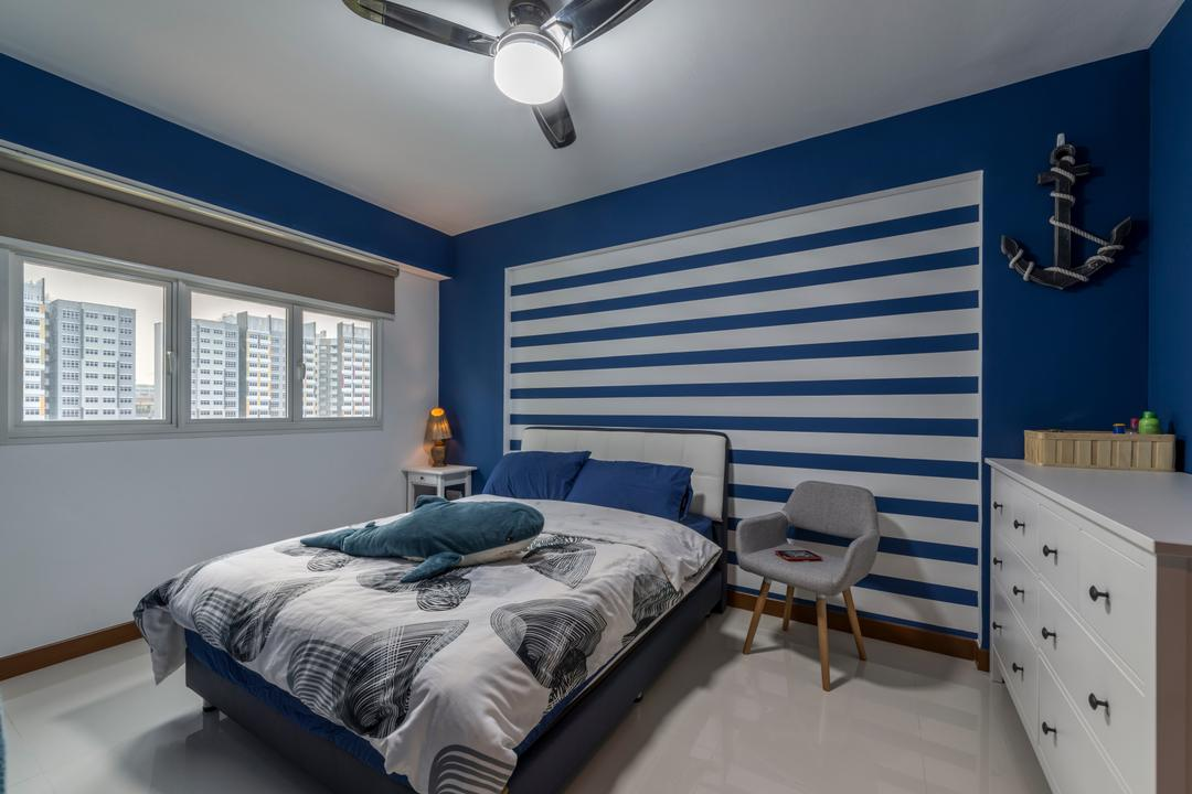 Sumang Walk, Superhome Design, Industrial, Bedroom, HDB, King Size Bed, Ceiling Fan, Dark Blue Wall, Roll Down Curtain, Cozy, Cosy, Modern Contemporary Bedroom, Bed, Furniture, Indoors, Interior Design, Room, Couch, Chair